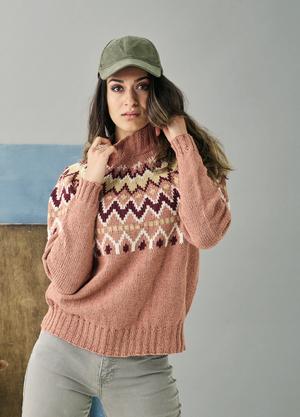 Lätt lös sweater med mönstrat ok - Luna by Permin
