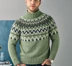 Sweater med mönstrat ok till herr - Luna by Permin