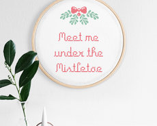 Cross stitch kit with aida - Mistletoe