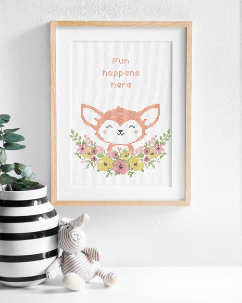 Broderikit aida - Flower friends Fox