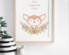Cross stitch kit with aida - Flower friends Fox