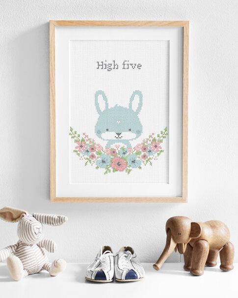 Broderikit aida - Flower friends Bunny