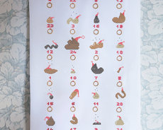 Cross stitch kit with aida - Poopy X-mas Calendar
