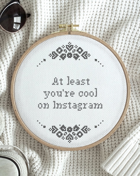 "Cross stitch kit with aida - ""Cool on Instagram"""