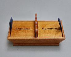 Wooden needle box from Sajou
