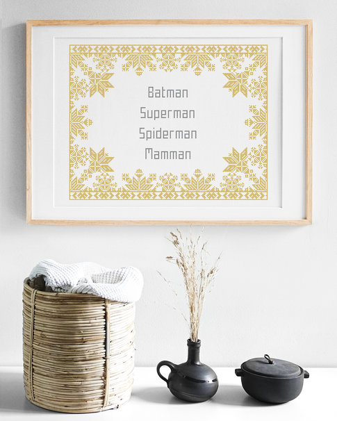 Cross stitch kit Mamman / Nordiska stjärnor (Swedish) - Aida