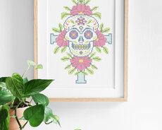Cross stitch kit with aida - Sugar skull