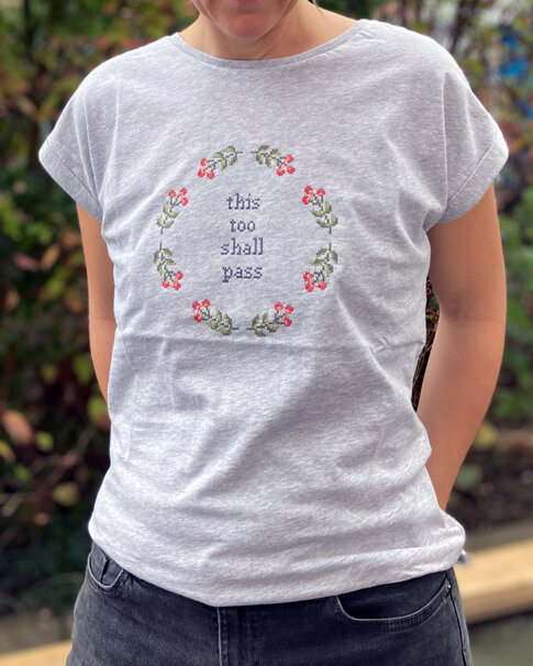 Ready made Embroidered T-shirt - This too shall pass