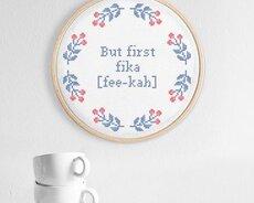 But first fika (Digitalt broderimönster)
