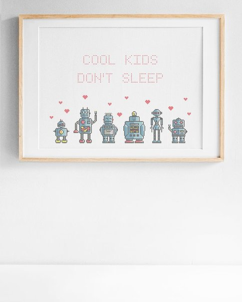 Cool kids / We are the robots (Digital embroidery pattern)