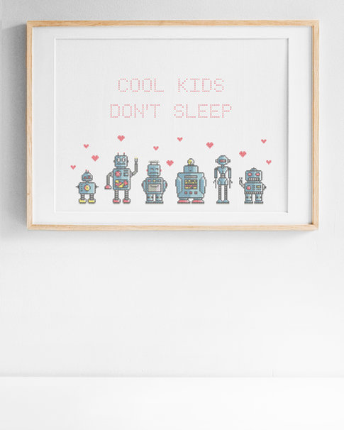 Cool kids / We are the robots - Cross stitch kit with aida