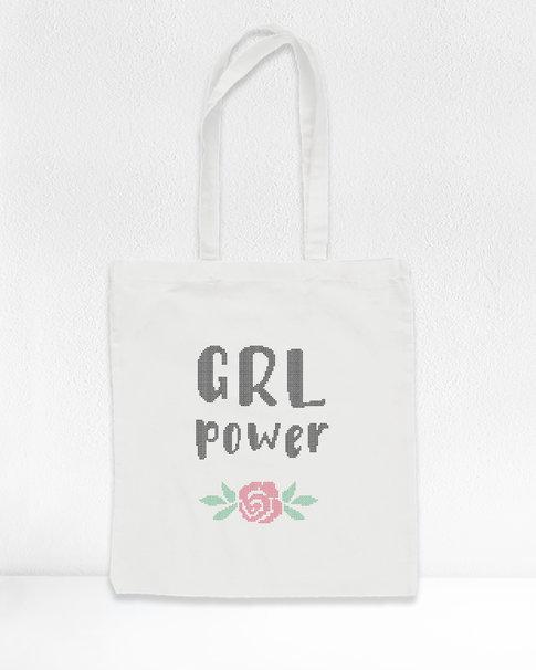 "DIY Cross stitch kit tote bag ""Grl Power"""