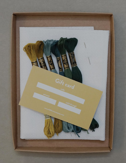 Starter-kit including floss, fabric, needle, notions and gift card