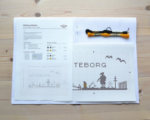 Gothenburg skyline - Cross stitch kit with aida