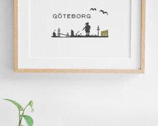 Gothenburg skyline - Cross stitch kit with aida