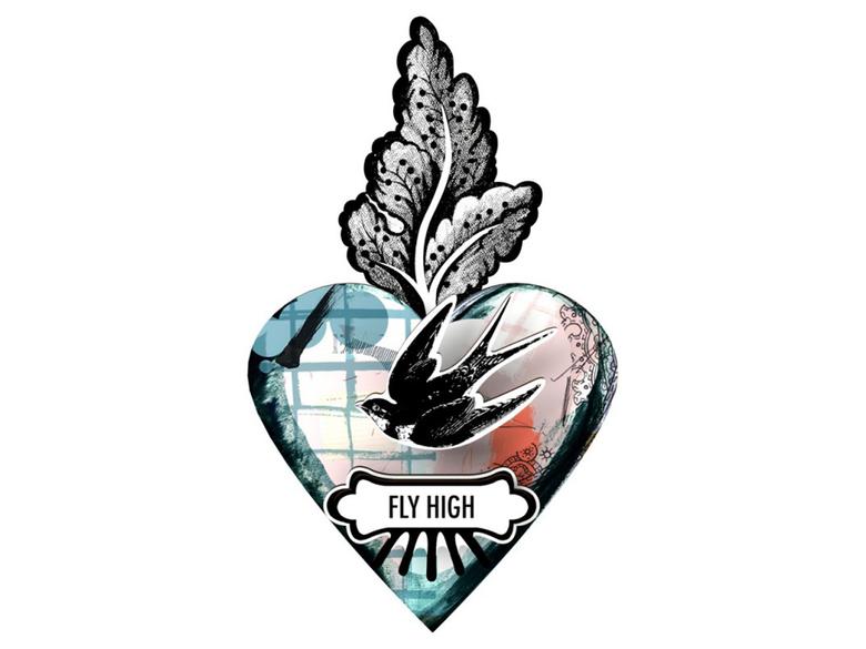 Väggdekor hjärta 'Fly high'