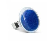 Ring Platine medium billes - blå