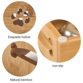 Matbar i bambu och rostfritt stål