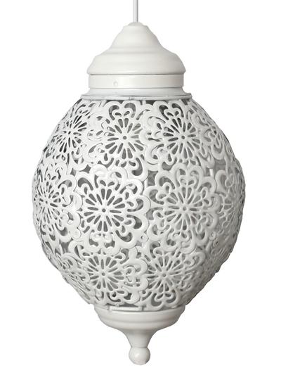 Rund vit bollampa med genombrutet spetsmönster plåt shabby chic lantlig stil