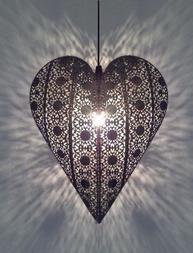 Hjärtlampa hjärta i antiksilver shabby chic lantlig stil