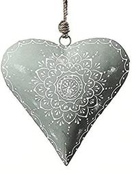 Hjärta grått handmålad plåt 2 storlekar shabby chic lantlig stil
