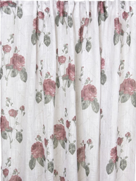 2 st Gardinlängder vit Rosa Rosor shabby chic Romantisk lantlig stil