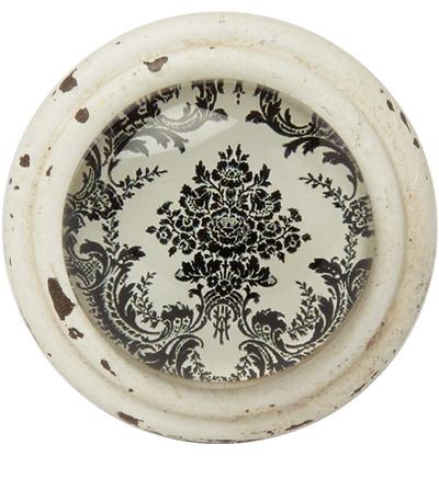 Knopp glas och metall orientalisk svart vit patina shabby chic lantlig stil