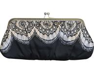 Ljuvlig svart väska necessär sminkväska med spets shabby chic lantlig stil