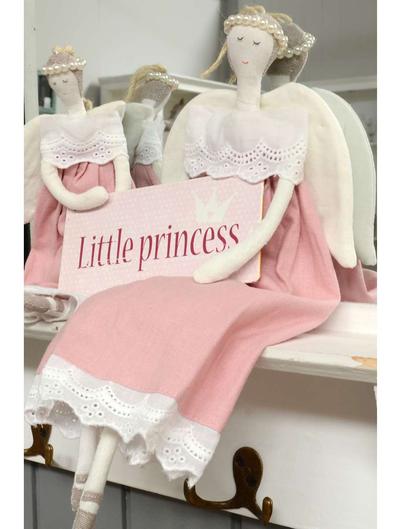 Stor ängel rosa med kjol pärlgloria shabby chic lantlig stil