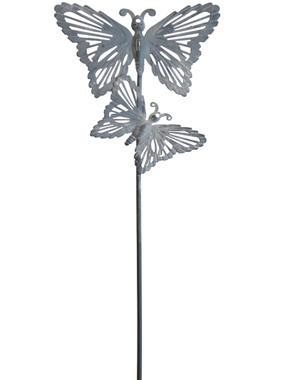 Fjäril i zink på pinne shabby chic lantlig stil
