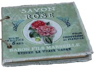 Anteckningsbok notebook Vintage  Savon Rose Chic Antique  shabby chic lantlig stil