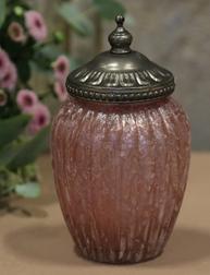 Stor skål med lock dimrosa glas Chic Antique Shabby chic lantlig stil