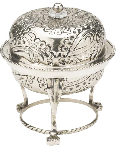 "Bowl ""antique silver"" with lid Paisley pattern Lisbeth Dahl"