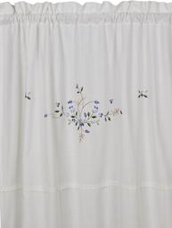Gardinlängder vit broderade blå blommor spets shabby chic lantlig stil
