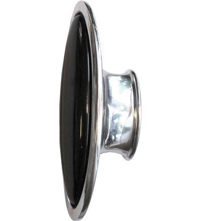 Stor oval knopp svart retro antik stil silver blank chrome shabby chic lantlig stil