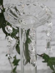Ljusmanschett med prismor shabby chic lantlig stil