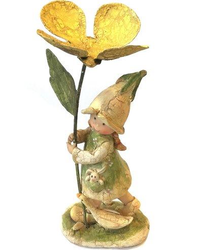Blomsterflicka med smörblomma i plåt shabby chic lantlig stil