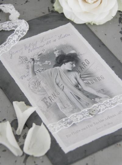 Vacker kvinna metall tag bilder handgjord spets shabby chic lantlig stil Jeanne darc living