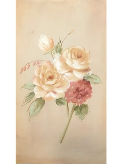 Stor handmålad tavla Gula Rosor shabby chic lantlig stil