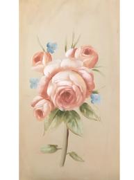 Stor handmålad tavla Rosa Rosor Förgät mig ej shabby chic lantlig stil