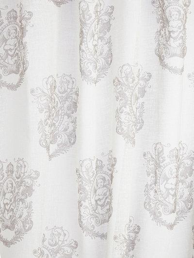 2 st Gardinlängder vita linne-beige änglar shabby chic, lantlig stil