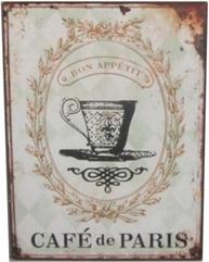 Plåtskylt skylt CAFÈ de PARIS shabby chic lantlig stil
