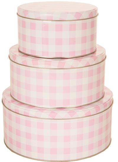 Plåtburk 3 storlekar rund rosa vit rutig shabby chic lantlig stil