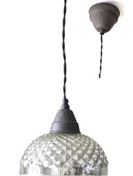 Taklampa lampa kotte fattigmanssilver textilsladd metallkopp