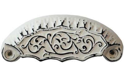 Vitt skålhandtag viktoriansk järn shabby chic lantlig stil