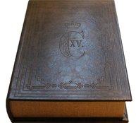 Boklåda kungligt emblem shabby chic lantlig stil