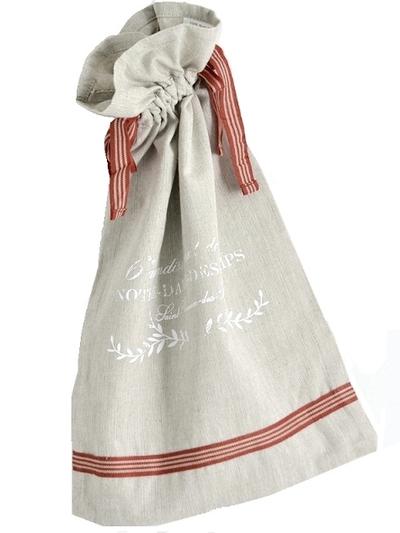 Notre Dame påse säck linnefärg vitt mjölsäck tryck shabby chic