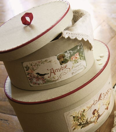 Hattaskar gammeldags franska 4 olika storlekar shabby chic lantlig stil