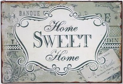 Plåtskylt skylt Home Sweet Home shabby chic lantlig stil