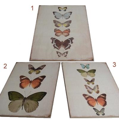 Tavla i trä fjärilar 3 sorter shabby chic lantlig stil